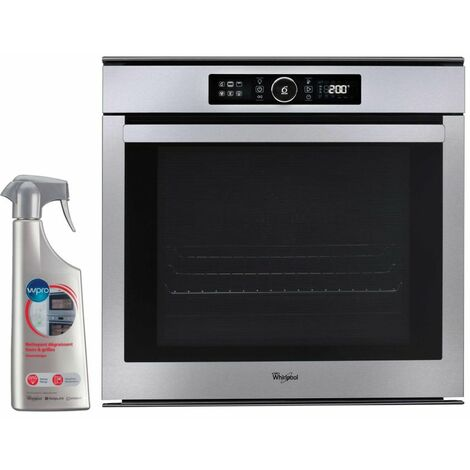 WHIRLPOOL Four Pyrolyse encastrable Inox 73L multifonction porte froide - Inox