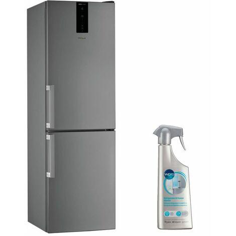 WHIRLPOOL Réfrigérateur frigo Combiné Inox 338L Froid ventilé No frost 6eme sens - Inox