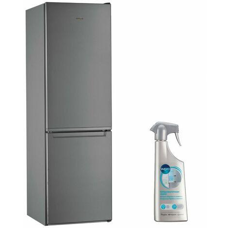 WHIRLPOOL réfrigérateur frigo combiné inox 339L Froid brassé Less Frost - Inox