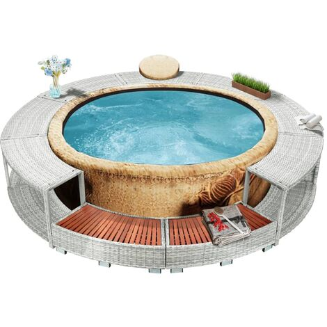 Whirlpool-Umrandung Hellgrau Poly Rattan