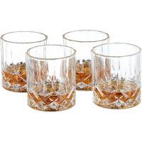Whisky Gläser 4er Set, 250 ml, Gastro, edle Kristalloptik, feine Whiskybecher, f. Hausbar/Vitrine, transparent