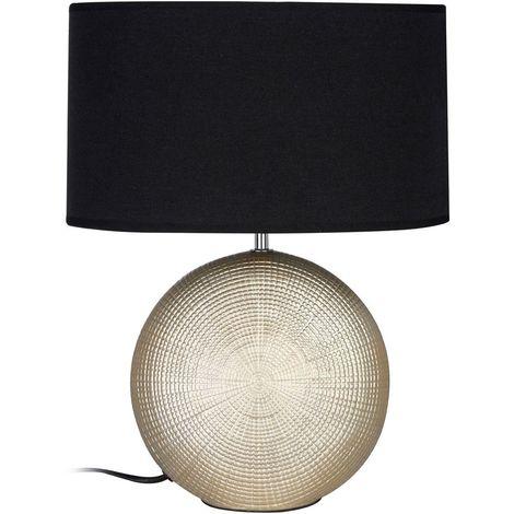 Whisper Table Lamp, Gold Ceramic, Black Fabric Shade