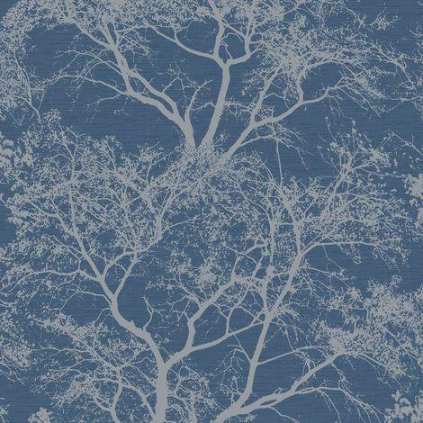 Whispering Trees Wallpaper Dark Blue Glitter Textured Sparkle Forest Holden