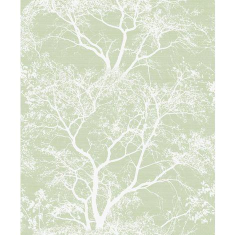 Whispering Trees Wallpaper Green White Glitter Textured Sparkle Forest Holden