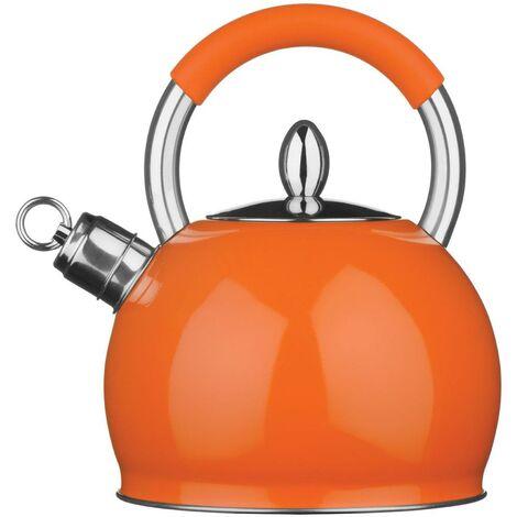 Whistling Kettle,Stainless Steel/Orange,3 Ltr