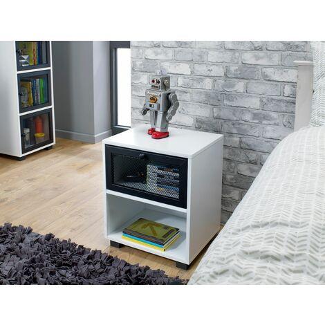 White 1 Drawer Bedside Cabinet With Black Mesh Metal Drawer