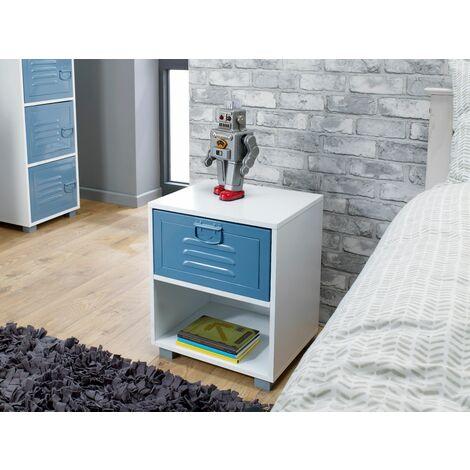 White 1 Drawer Bedside With Blue Metal Drawer