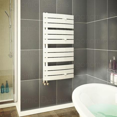 White 1080 X 550 Mm Flat Panel Bathroom Designer Towel Rail Radiator