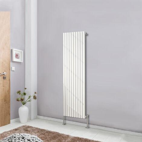 White 1600x590 Vertical Single Panel Oval Column Designer Radiator Tall Upright Bathroom Central Heating
