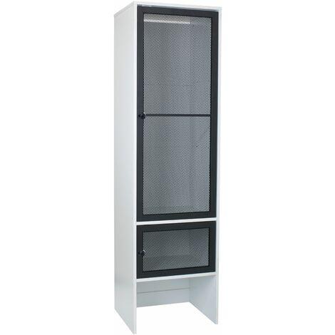 White 2 Door Wardrobe With Black Mesh Metal Door