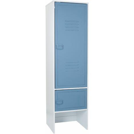 White 2 Door Wardrobe With Blue Metal Door