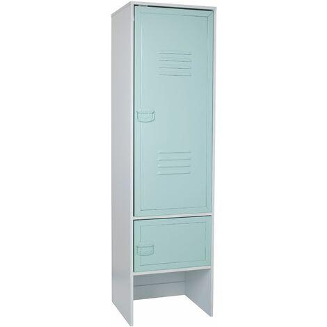 White 2 Door Wardrobe With Green Metal Door