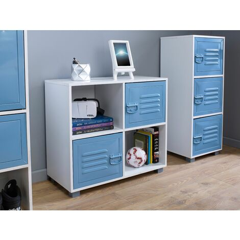 """main image of """"White 4 Cube With 2 Blue Metal Doors - Blue"""""""