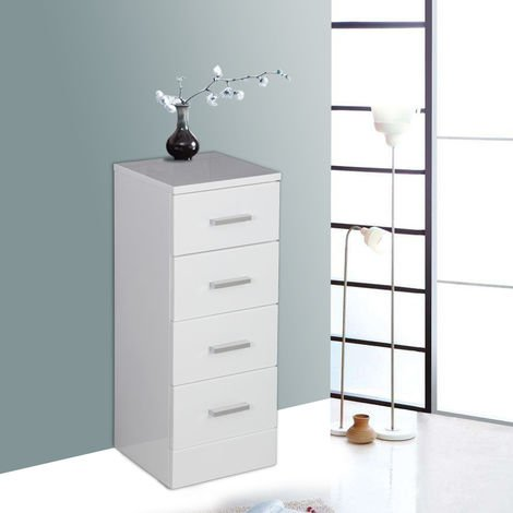 White 4 Drawer Bathroom Cabinet Floor Standing Storage Furniture Unit 300mm