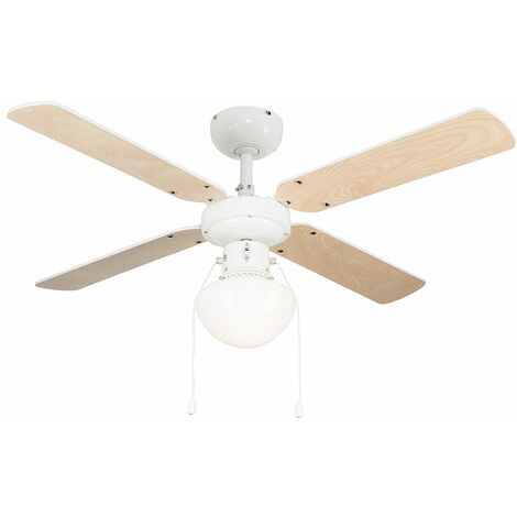 "White 42"" Ceiling Fan + Light & Beech / White Reversible Blades + 4W LED Es E27 Golfball Light Bulb"
