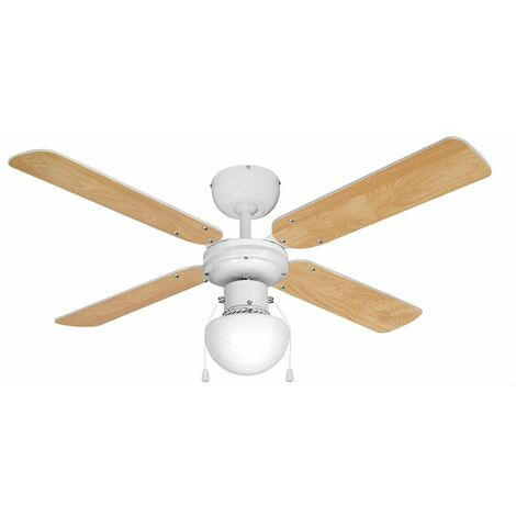 "White 42"" Ceiling Fan With Light & Beech / White Reversible Blades"