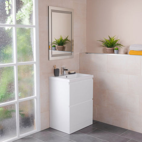 White 600mm Bathroom Floor Vanity Sink Unit 2 Drawer Furniture with Free Mirror