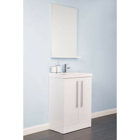 White 600mm Floor Standing Vanity Sink Unit Door Basin Bathroom Furniture Free Mirror