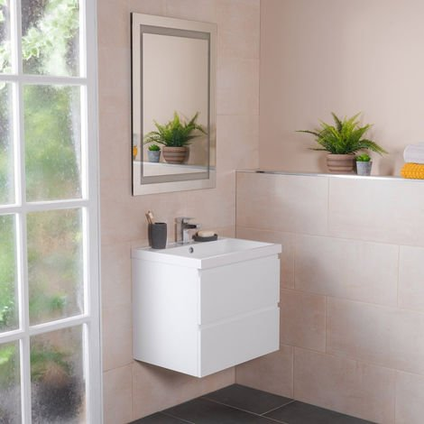 White 600mm Wall Hung 2 Drawer Vanity Basin Unit with Free Mirror