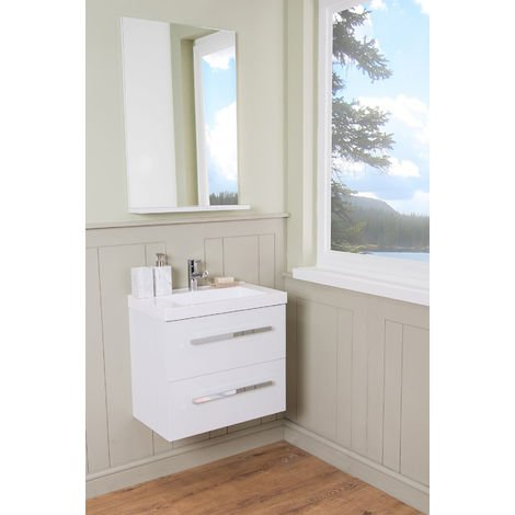 White 600mm Wall Hung Vanity Sink Unit 2 Drawer Basin Bathroom Furniture Free Mirror