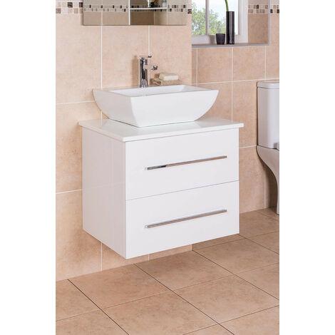White 600mm Wall Hung Vanity Sink Unit 2 Drawer Countertop Basin Bathroom Furniture