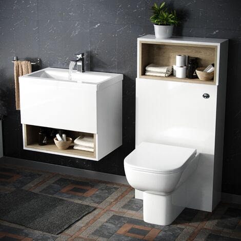 White 610 mm Wall Hung Vanity Cabinet and WC BTW Toilet Unit