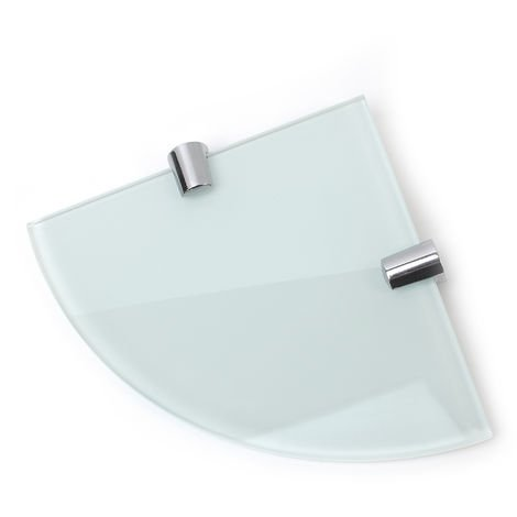 "White 6mm Toughened Glass Corner Shelf 150mm (6"" approx) with Chrome Supports"