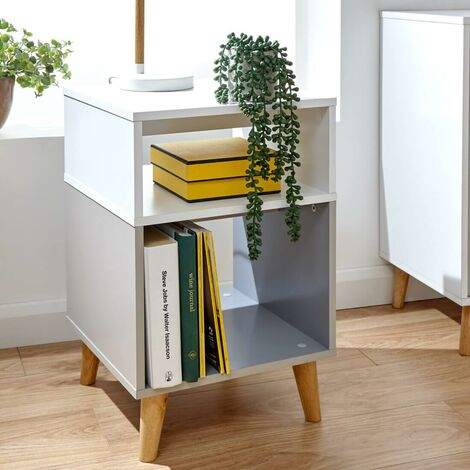 """main image of """"White And Grey Lamp Side Table Bedside Cabinet Nightstand Spindle Legs Delta"""""""