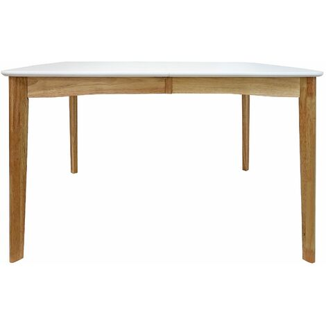 """main image of """"White and Wooden Thisted Extendable Dining Table with seating capacity of 8, W120/160 x D90 x H75 cm - White and Brown"""""""