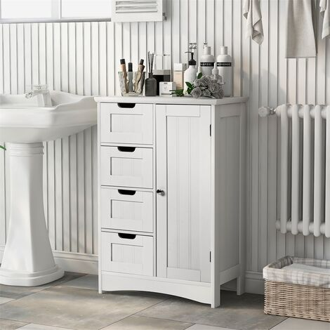 White Bathroom Cabinet Floor Standing, 4 Drawers and 1 Door with a moveable shelf, MDF White Storage Cupboard Tall Cupboard Chest of Drawers
