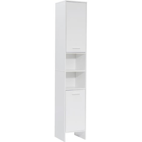 White Bathroom Cabinet Tall Cupboard Furniture Large Tall Storage Unit Home