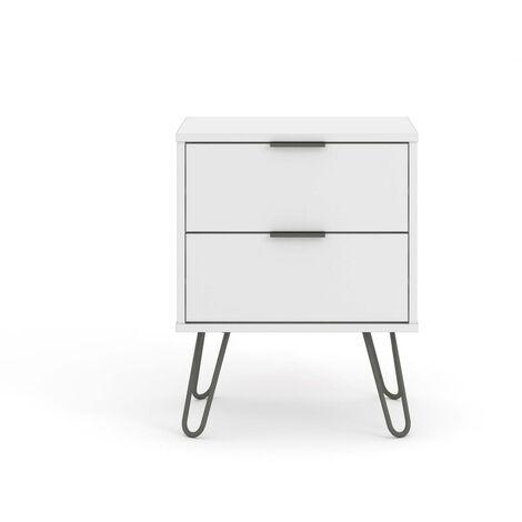 "main image of ""White Bedside Lamp Table Cabinet 2 Drawer Bedroom Living Room Storage Unit"""