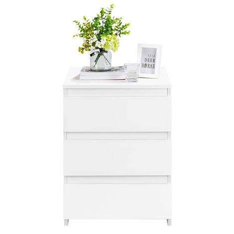 White Bedside/Side/End Tables with 3 Drawers & Storage Cubes for Living Room Bedroom Nightstand Table 45 x 35 x 61 cm