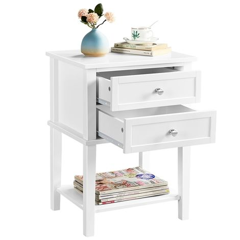 White Bedside Table 2 Drawers Nightstand Table Wooden Bedside Cabinet with Open Shelf for Bedroom Living Room 45.00x35.00x61.00 cm