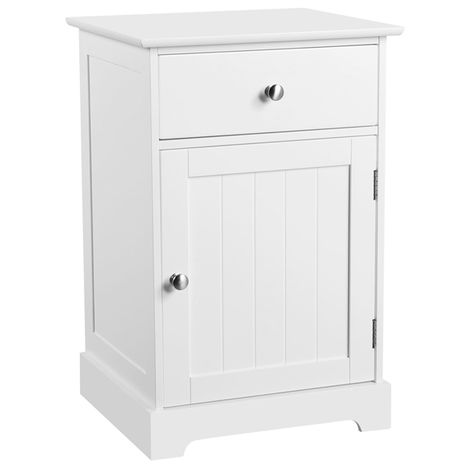 White Bedside Table Nightstand Cabinet Chest of Drawers for Bedroom/Living Room/Hallway/Bathroom 40 x 35 x 60 cm