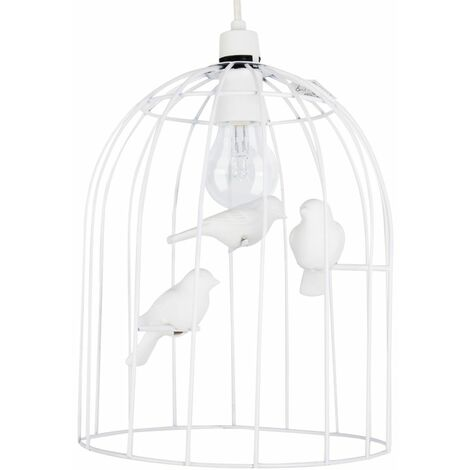 White Birdchandelier Ceiling Pendant Light + White Ceramic Multi Coloured Birds