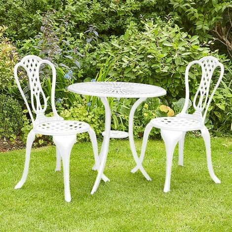 """main image of """"White Bistro Set Outdoor Patio Garden Furniture Table and 2 Chairs Metal Frame"""""""