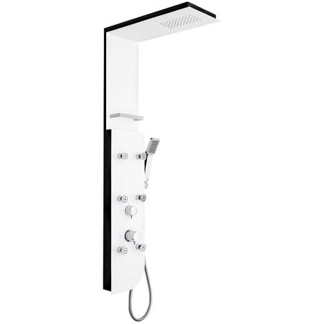 White/Black Wallmounted Shower Panel With Hydromassage Top + Hand Single Jet