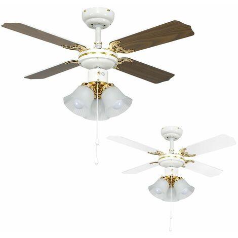 """White & Brass 36"""" Ceiling Fan + 3 Lights & Oak / White Reversible Blades + 3 x 4W LED Ses E14 Golfball Bulbs"""