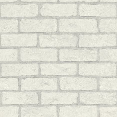 White Brick Effect Wallpaper Rasch Textured Industrial Rustic Grey