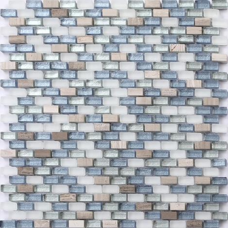 White Brown Blue Silver Stone Glass Mix Bathroom Mosaic Tiles MT0125