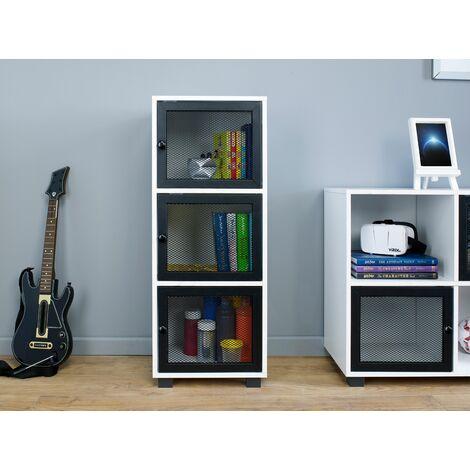 White Cabinet With 3 Black Mesh Metal Door