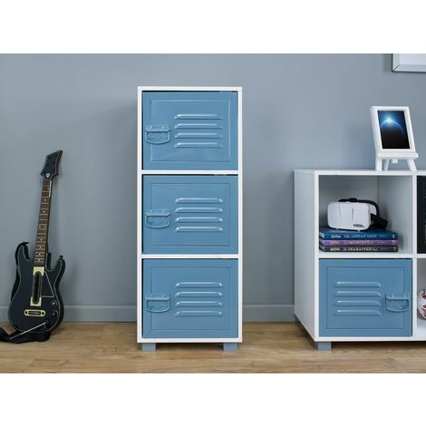 """main image of """"White Cabinet With 3 Blue Metal Doors - Blue"""""""