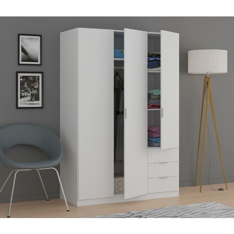 White cabinet with three doors and three drawers, 180 x 121 x 57 cm
