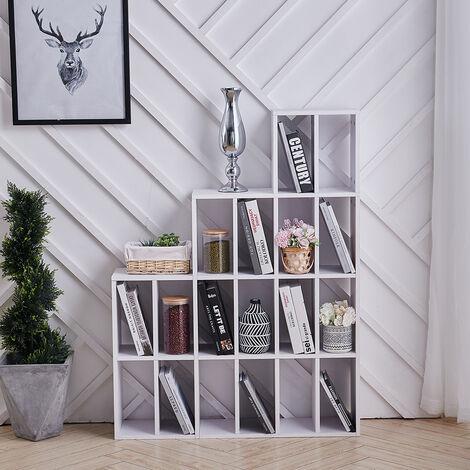 White CD DVD Storage Rack Shelf Bookcase Display Corner Shelf Divider Organiser