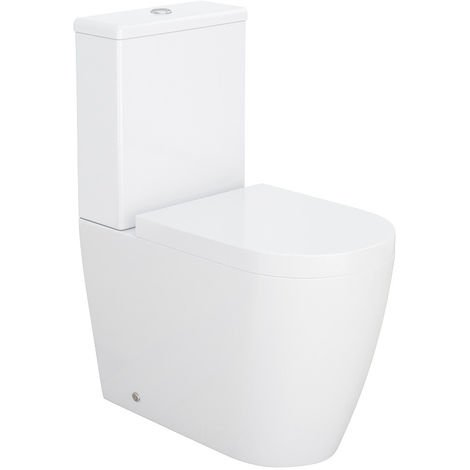 White Ceramic Close Coupled Toilet Pan with Soft Close Seat Cistern Bathroom WC