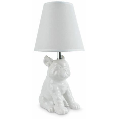 White Ceramic French Bull Dog Table Lamp + White Light Shade
