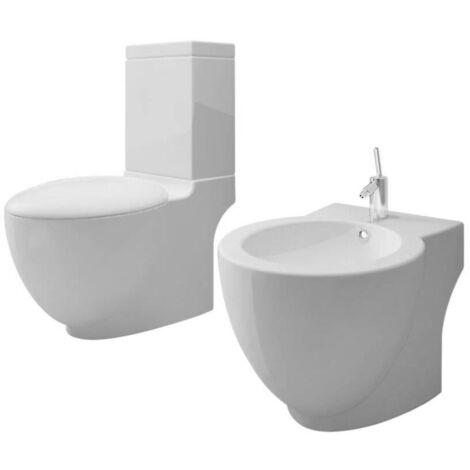 White Ceramic Toilet & Bidet Set