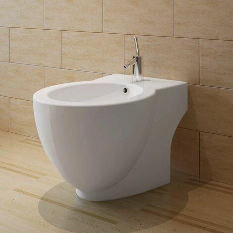 White Ceramic Toilet & Bidet Set QAH14969