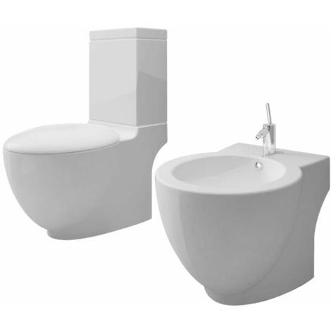 White Ceramic Toilet & Bidet Set - White